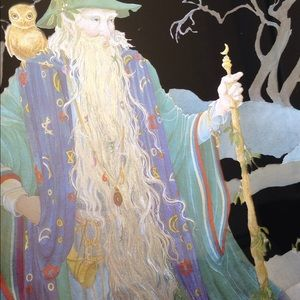Vintage Wall Art - Foil Print Wizard 80s Art Gandalf Owl Staff Magic